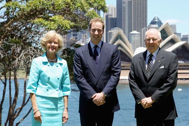 Ms Bryce was a vision in blue when Prince William visited Kirribilli House in 2010