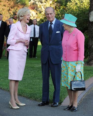 At an earlier meeting with the Monarch, Ms Bryce wore one of her trademark pink skirt-suits