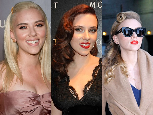 From blonde bombshell to sultry brunette, Scarlett Johansson lets colour speak for itself. Photos: Getty Images