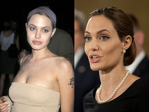Angelina Jolie once wore a vial of Billy Bob Thornton's blood around her neck. Now it's pearls. Photos: Getty Images