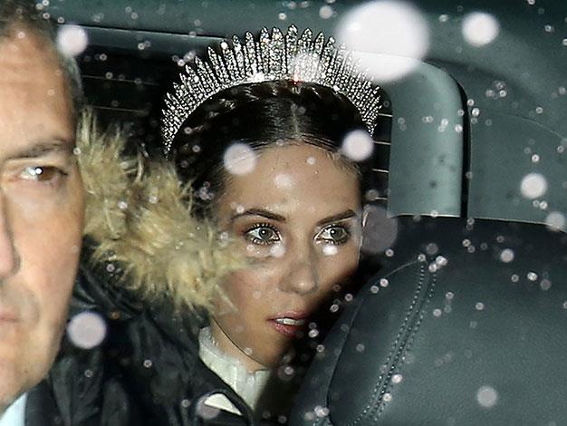Tatiana Santo Domingo arriving at the Rougemont church in the snow.
