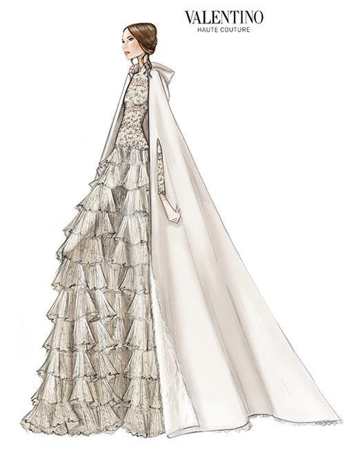 Sketch of Tatiana Santo Domingo's bespoke Valentino wedding gown and cape.