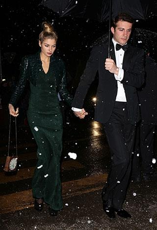 Australian supermodel Jessica Hart and her boyfriend, Greek shipping heir Stavros Niarchos III, attend the royal wedding of Andrea Casiraghi and Tatiana Santo Domingo on Saturday evening.