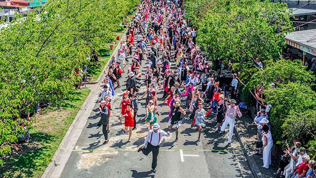 A record-breaking 319 people danced the Charleston on the streets in the Charleston Challenge.
