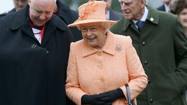 Queen Elizabeth II peach dress and hat