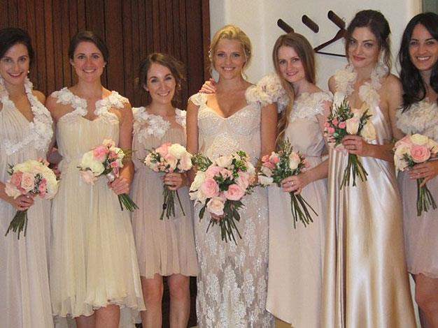 Teresa with her six bridesmaids on her wedding day.
