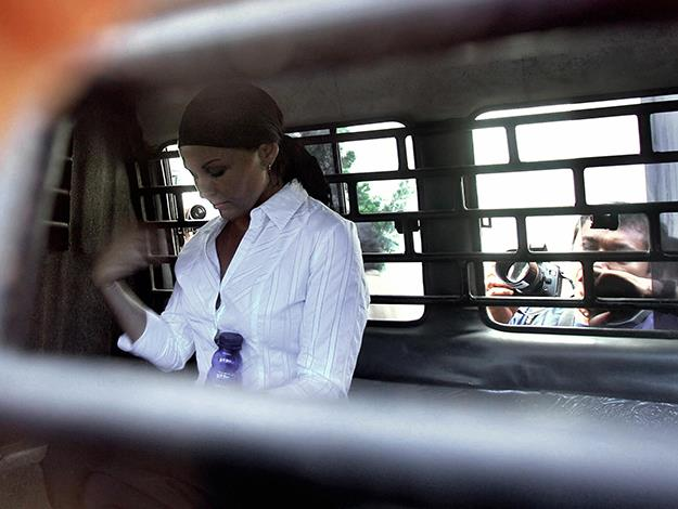 In a prison van at court for her final appeal. Photo: AFP/Getty Images