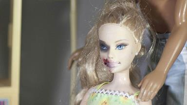 Domestic violence Barbie goes on display