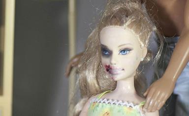 Domestic violence Barbie goes on display