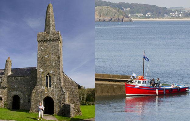 St Illtyd's Church, Caldey Island, and the Caldey Island ferry.