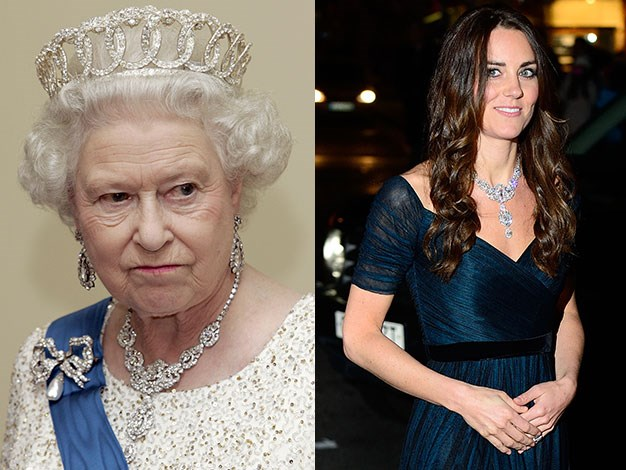 Kate borrowed the Queen's necklace, which was a wedding gift from Nizam of Hyderabad.