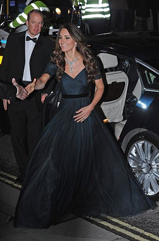 Kate chose a short-sleeved gown despite the chilly London weather.