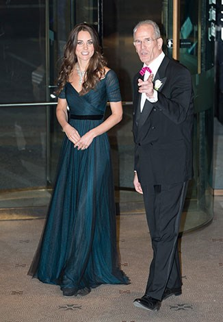 Kate's midnight blue gown is a favourite - she wore it for the first time last year.
