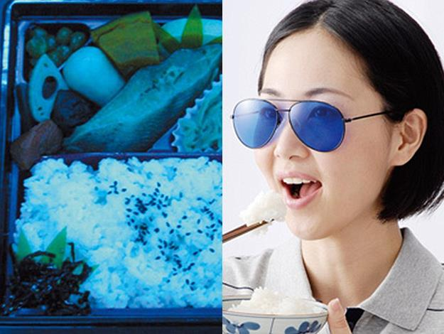 These diet glasses with blue lenses are supposed to turn off your appetite by making the food look unappealing.