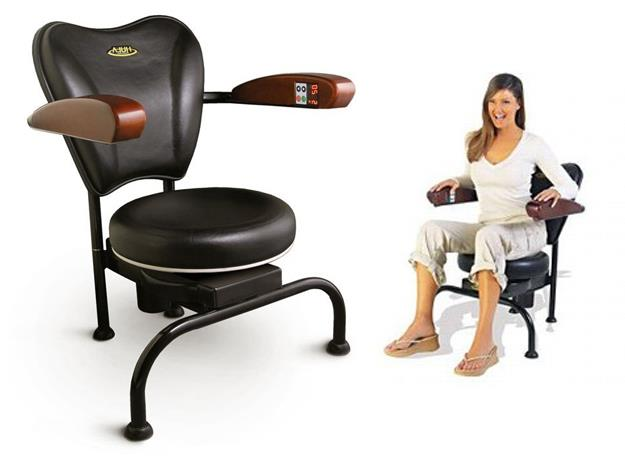 The Hawaii Chair's seat spins and vibrates to keep you constantly off balance.
