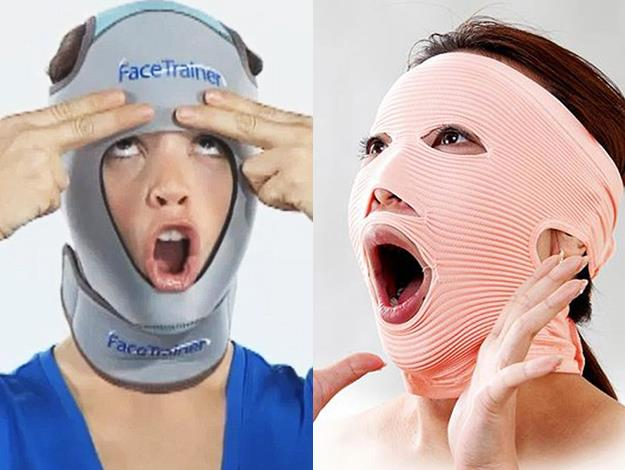 Clearly meant only for use in the privacy of your own home, the face trainer makes facial movements harder, thus creating resistance training.