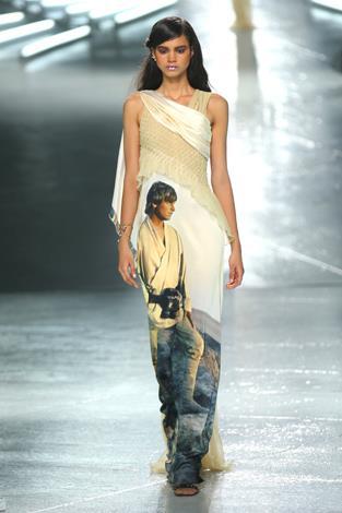 An image of Luke Skywalker is emblazoned on this elegant gown.