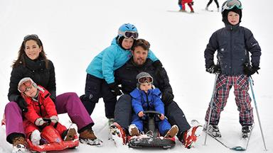 Princess Mary of Denmark and kids skiing in Switzerland