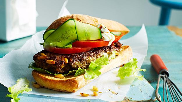 "Add some spice to your classic burger with these [lamb mince patties](http://www.womensweeklyfood.com.au/recipes/lebanese-lamb-burgers-24996|target=""_blank""), filled with chilli-paste, garlic, and topped off with some Greek-style yoghurt."
