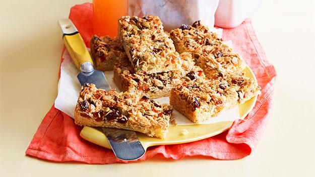 "**[Fruit muesli slice](https://www.womensweeklyfood.com.au/recipes/fruit-muesli-slice-25005|target=""_blank"")**  Pepitas, oats and coconut add plenty of nutty, crunchy fibre to this fruity muesli slice. A great lunch-box addition, especially as this recipe nut-free."