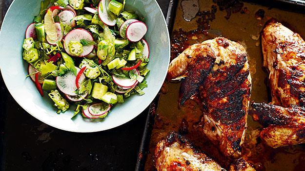 Lebanese chicken with radish salad