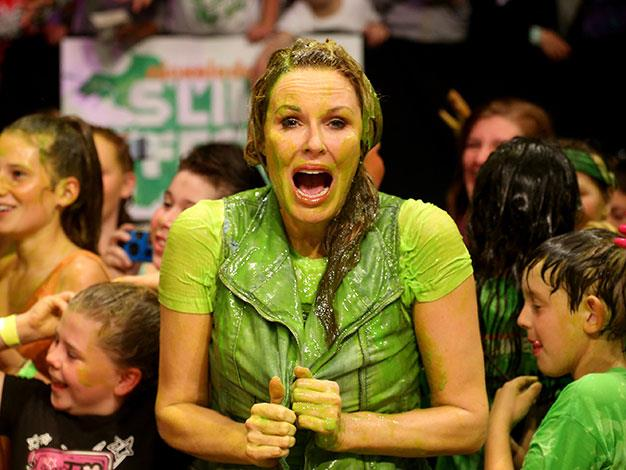 Covered in goop at the Nickelodeon Slimefest in 2012.