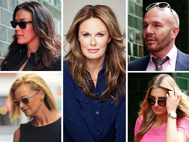 Megan Gale, Sarah Murdoch, Alex Perry and Laura Dundovic arrive at the memorial service for Charlotte Dawson (centre).