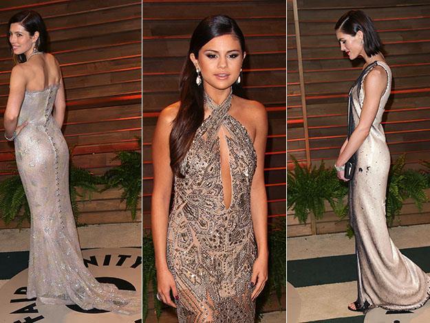 Jessica Biel, Selena Gomez and Hilary Rhoda. Photos: Getty Images