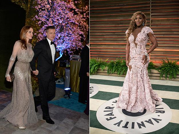 Brad Pitt and Angelina Jolie; and Serena Williams. Photos: Getty Images