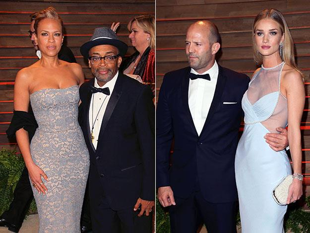 Spike Lee with wife Tonya Lewis; Jason Statham with Rosie Huntington-Whiteley. Photos: Getty Images
