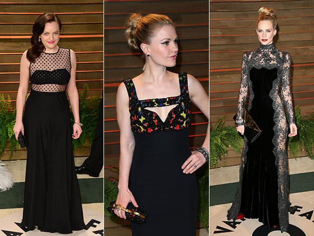 Elisabeth Moss, Anna Paquin and Poppy Delevingne. Photos: Getty Images