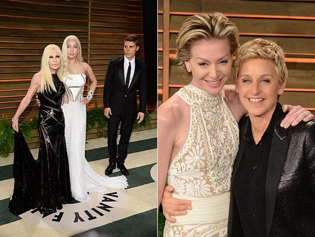 Donatella Versace and Lady Gaga; Portia De Rossi and Ellen Degeneres. Photos: Getty Images