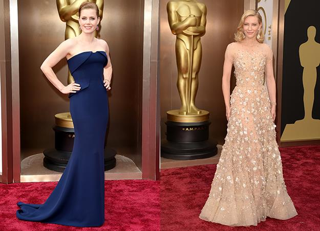 To this year's Oscars Amy wore a navy Gucci gown while Cate wore a nude Armani Prive sleeveless dress.