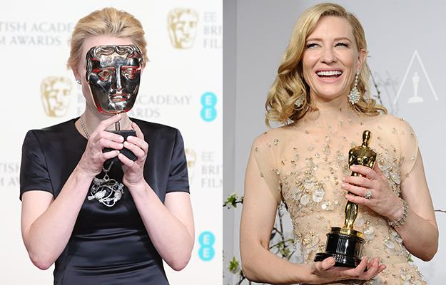 Cate poses with her 2014 Oscar and BAFTA awards.