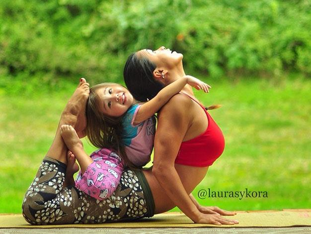 According to Laura's wellness website, Two Fit Moms, the yogi enjoys teaching her daughter and son new postures.