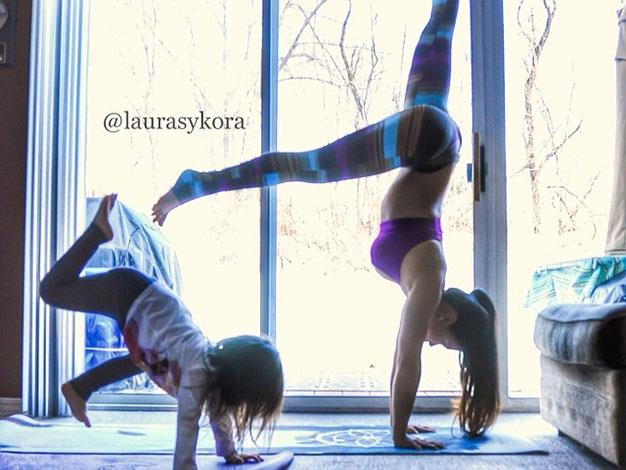 Laura and her daughter practising together in their home in New Jersey.
