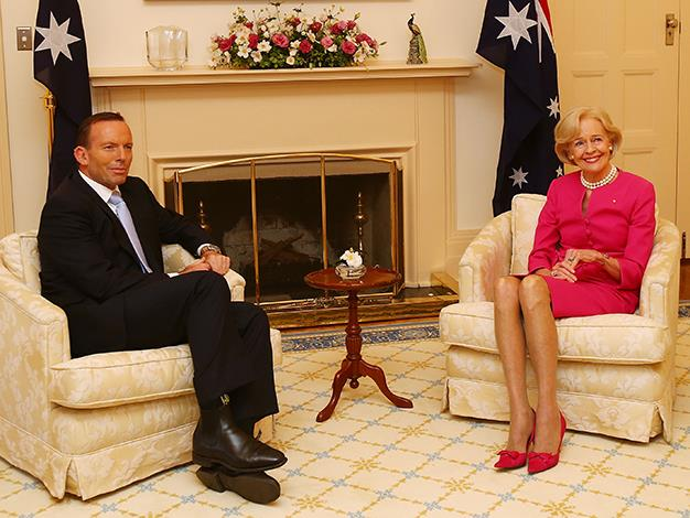 Australian Prime Minister Tony Abbott visits Governor General Quentin Bryce at Government House for the pair's last official meeting at Yarralumla.