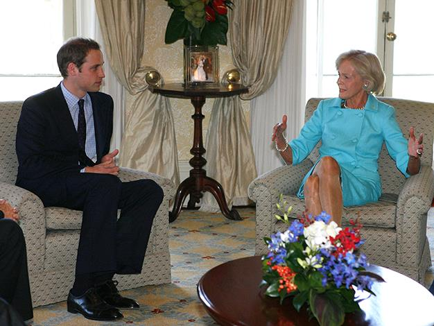Prince William and Quentin Bryce talk during luncheon at Admiralty House on January 19, 2010 in Sydney.