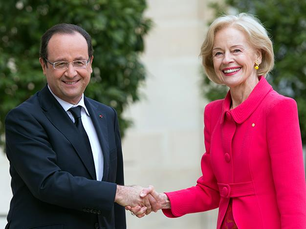 France's President Francois Hollande welcomes Quentin Bryce prior to a meeting at the Elysee presidential palace in Paris on June 3, 2013.
