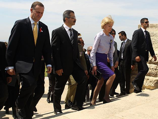 New Zealand Prime Minister John Key, Canakkale Governor Abdulkadir Atalik and Quentin Bryce arrive at the Commonwealth Memorial Service at Cape Helles on April 24, 2010 in Gallipoli, Turkey.