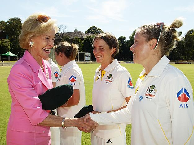 The Governor-General presents Alyssa Healy with her baggy green cap as a debutant before day one of the Test match between Australia and England at Bankstown Oval in Sydney.