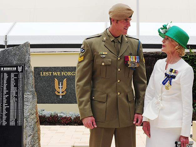 The Governor-General talks with Corporal Ben Roberts-Smith after awarding him the Victoria Cross on January 23, 2011 in Perth, Australia. Corporal Roberts-Smith of the Special Air Service Regiment was awarded the Victoria Cross for Australia for his gallantry under fire during operations in Afghanistan. The Victoria Cross is Australia's highest military honour.