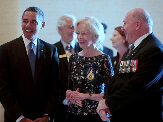 The Governor General and General Peter Cosgrove, who is set to be Bryce's successor to the office, stand with U.S. President Barack Obama during his tour on November 17, 2011 in Canberra.