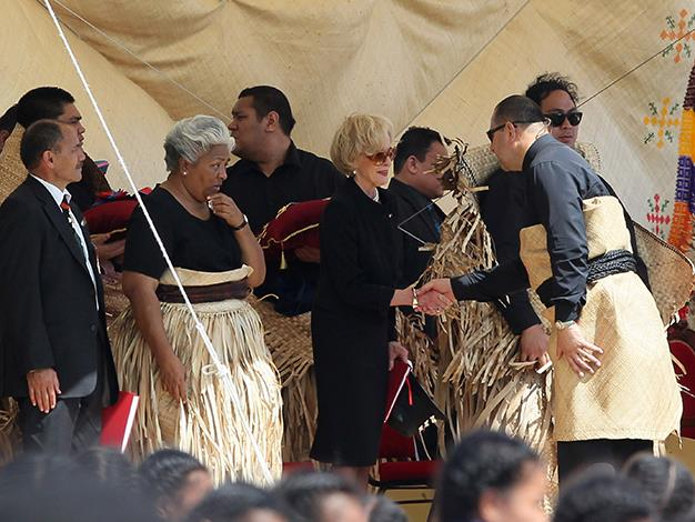 The new King Tupou VI greets the Goveror General during the State Funeral held for King George Tupou V at Mala'ekula on March 27, 2012 in Nuku'alofa, Tonga.