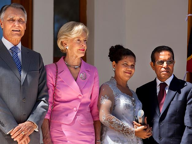 President of Portugal Mr Anibal Antonio Cavaco Silva, Quentin Bryce, the First Lady Isabel Perreira and President Taur Matan Ruak open the new Museum of Resistance in Dili, as East Timor celebrates ten years of independence on May 20, 2012.