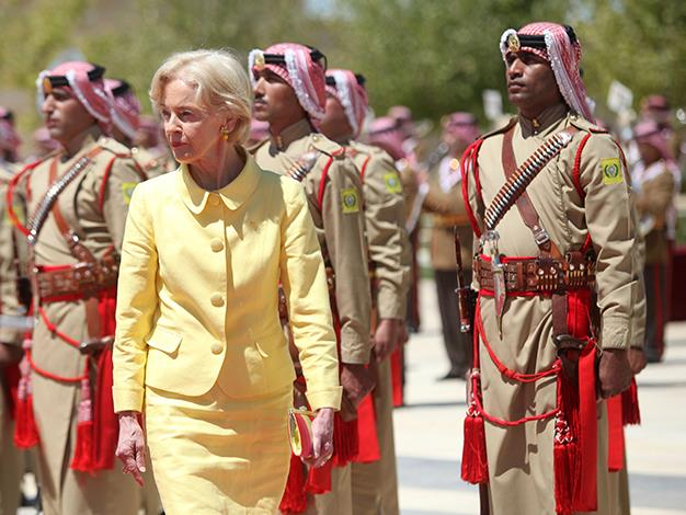 The Governor-General reviews the royal honour guard as she is received by Jordan's King Abdullah, on September 2, 2012 in Amman, Jordan.