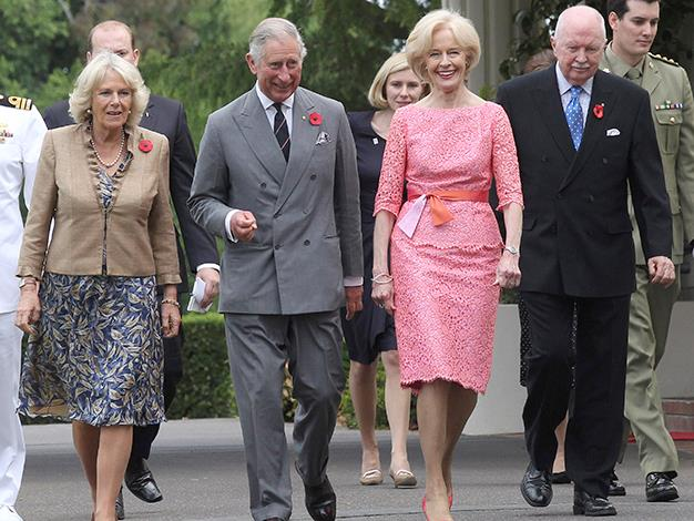 Camilla, Duchess of Cornwall, Prince Charles, Prince of Wales, the Governor-General and Michael Bryce attend a garden luncheon at Government House on November 10, 2012 in Canberra.