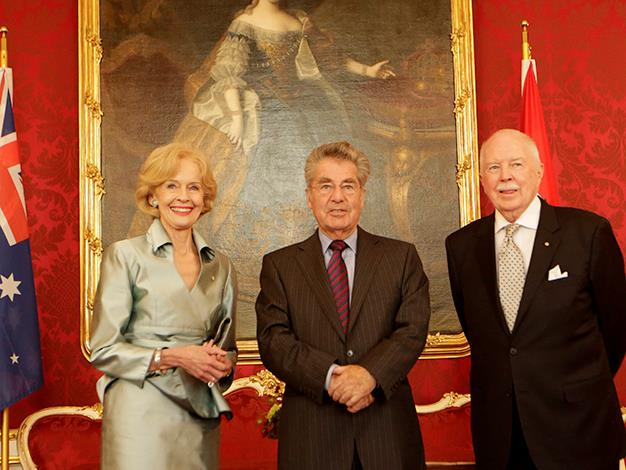 Quentin Bryce and her husband Michael Bryce are welcomed by Austrian President Heinz Fischer on June 7, 2013 in Vienna.