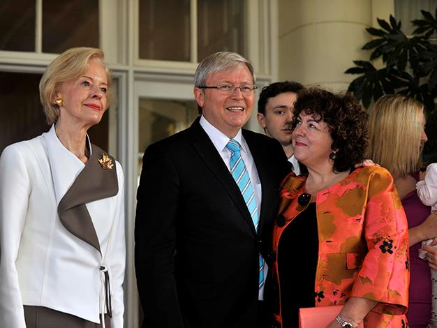 Governor-General Quentin Bryce swears in Prime Minister Kevin Rudd as he stands with his wife, Therese Rein at Government House, on June 27, 2013 after Rudd won an Australian Labor Party leadership ballot 57-45 the night before.