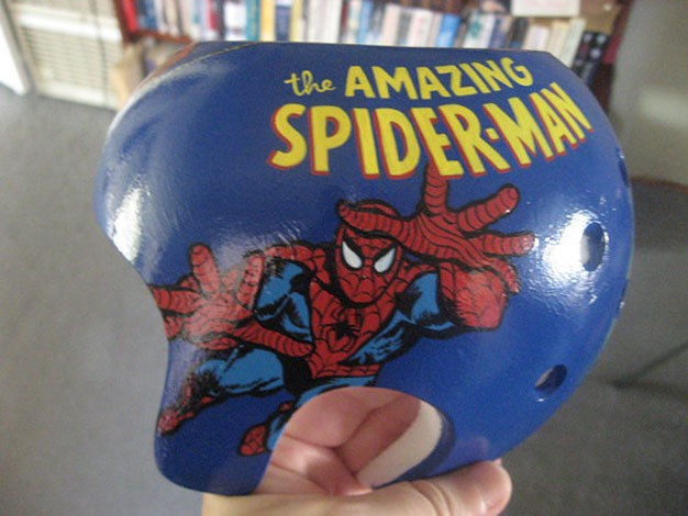 Spiderman is the star of this helmet.